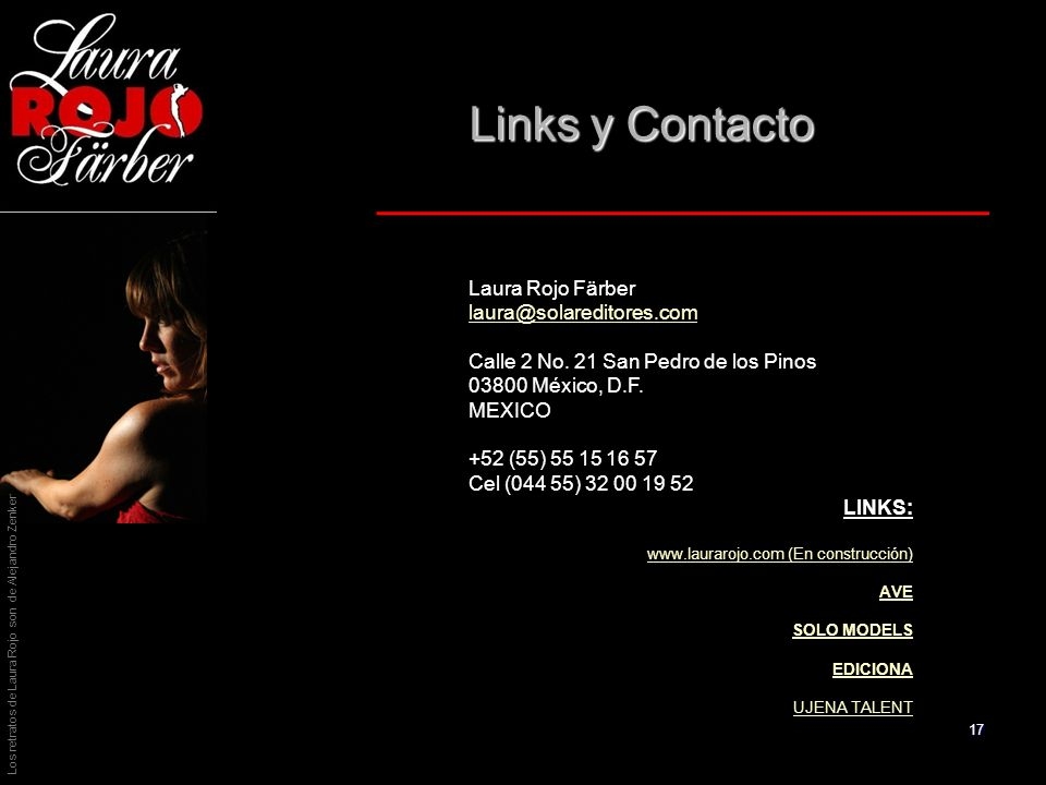Links y Contacto Laura Rojo Färber laura@solareditores.com