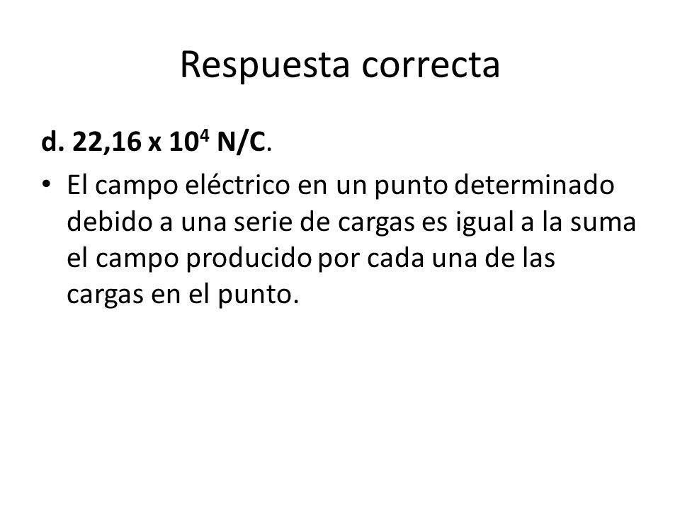 Respuesta correcta d. 22,16 x 104 N/C.