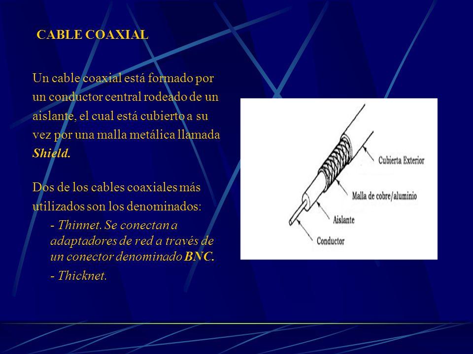 CABLE COAXIAL Un cable coaxial está formado por. un conductor central rodeado de un. aislante, el cual está cubierto a su.