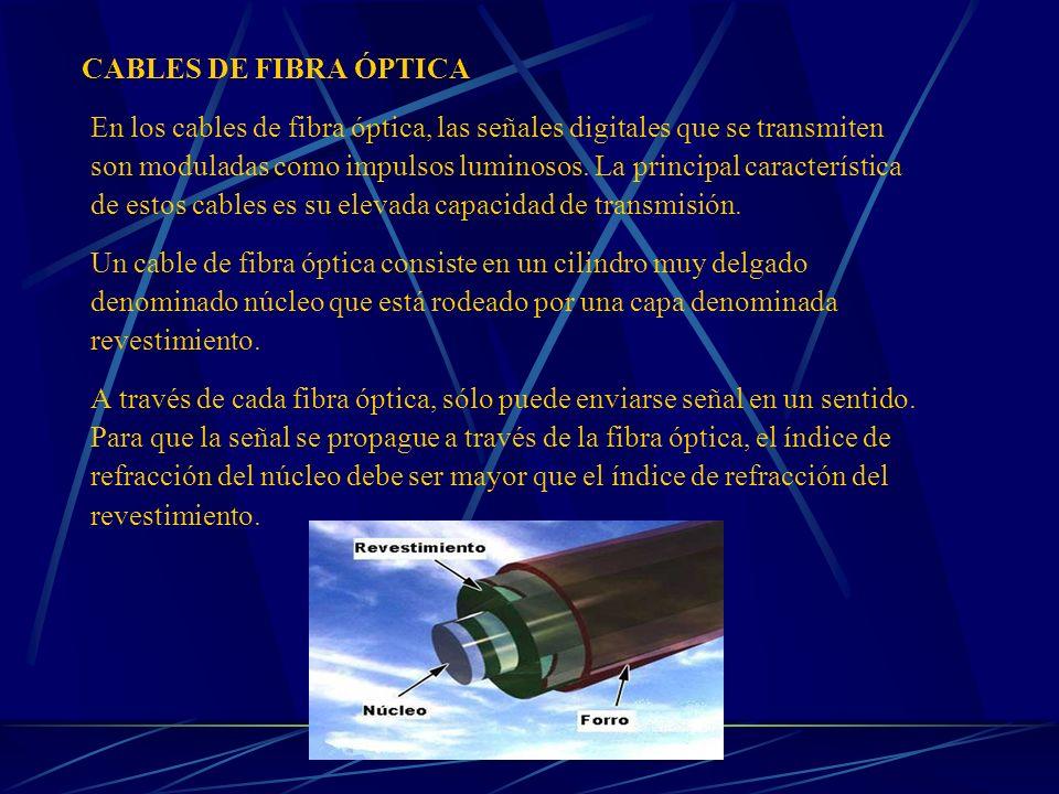 CABLES DE FIBRA ÓPTICA En los cables de fibra óptica, las señales digitales que se transmiten.