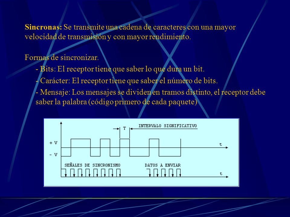 Sincronas: Se transmite una cadena de caracteres con una mayor velocidad de transmisión y con mayor rendimiento.