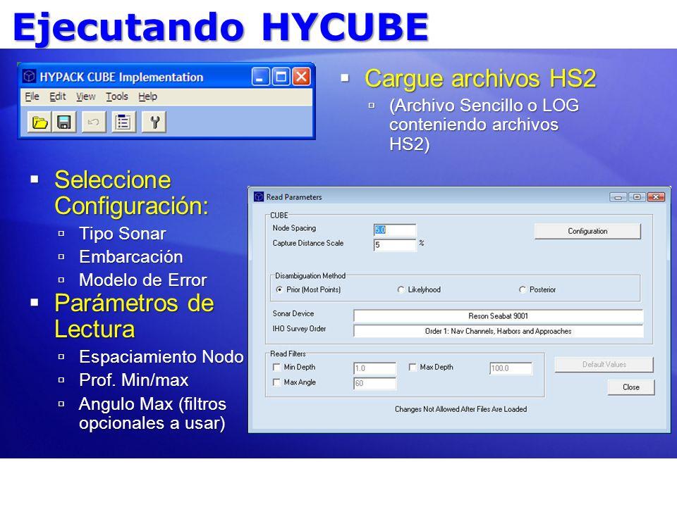 Ejecutando HYCUBE Cargue archivos HS2 Seleccione Configuración: