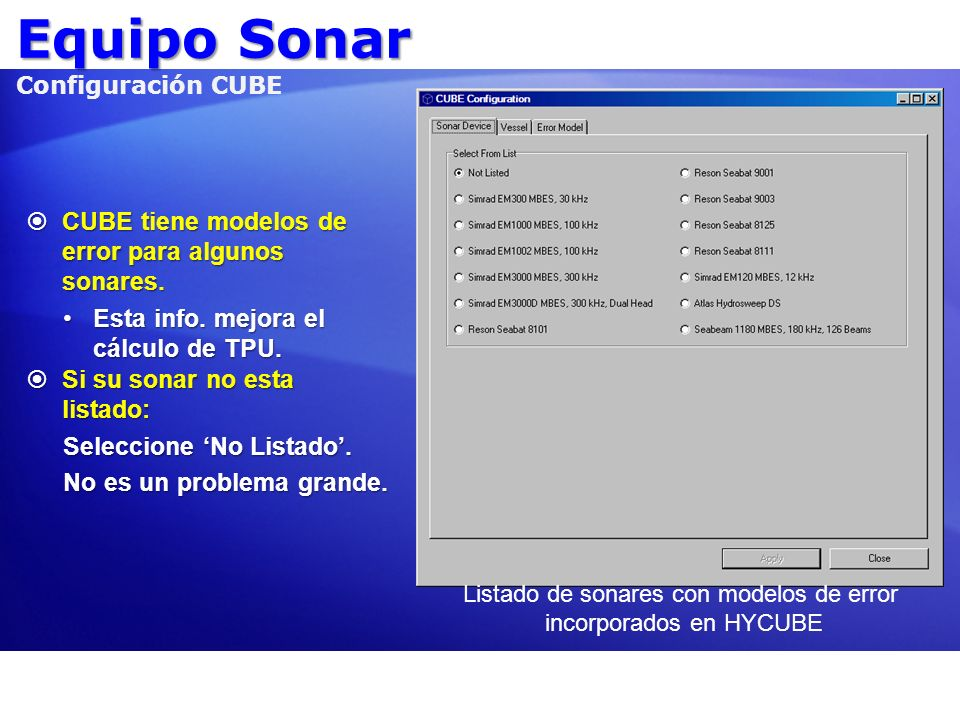 Equipo Sonar Configuración CUBE