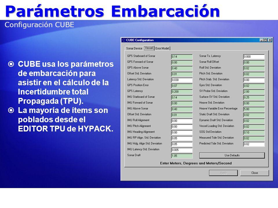 Parámetros Embarcación Configuración CUBE