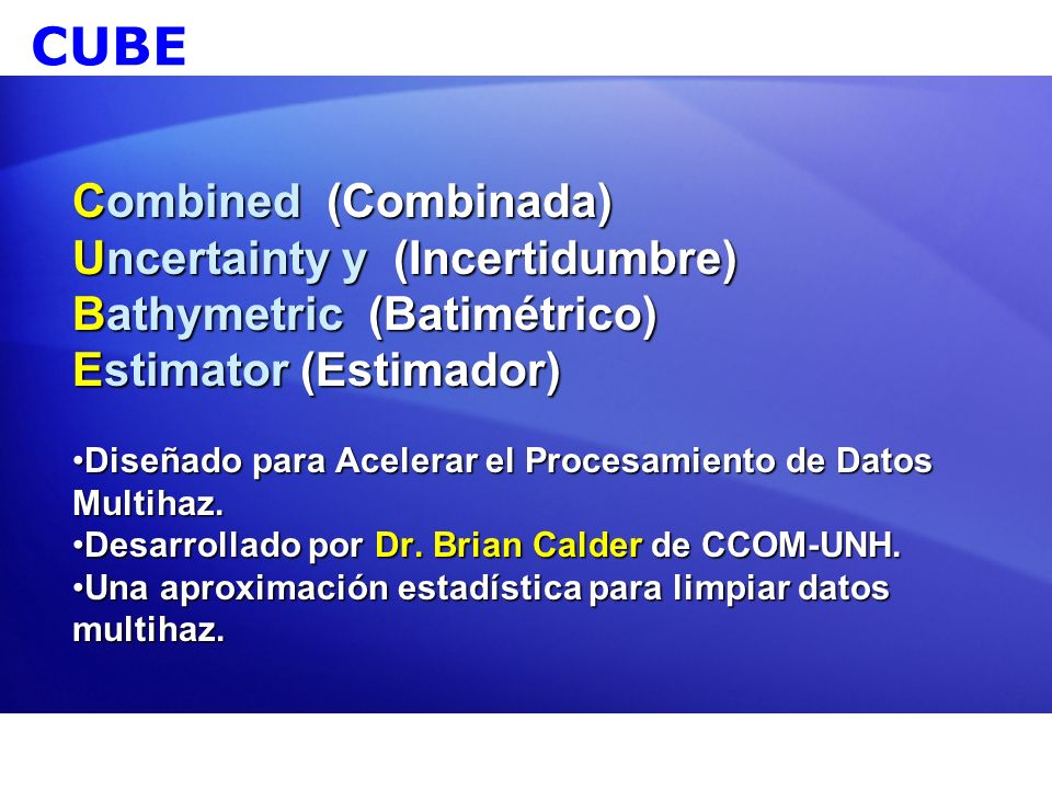CUBE Combined (Combinada) Uncertainty y (Incertidumbre)