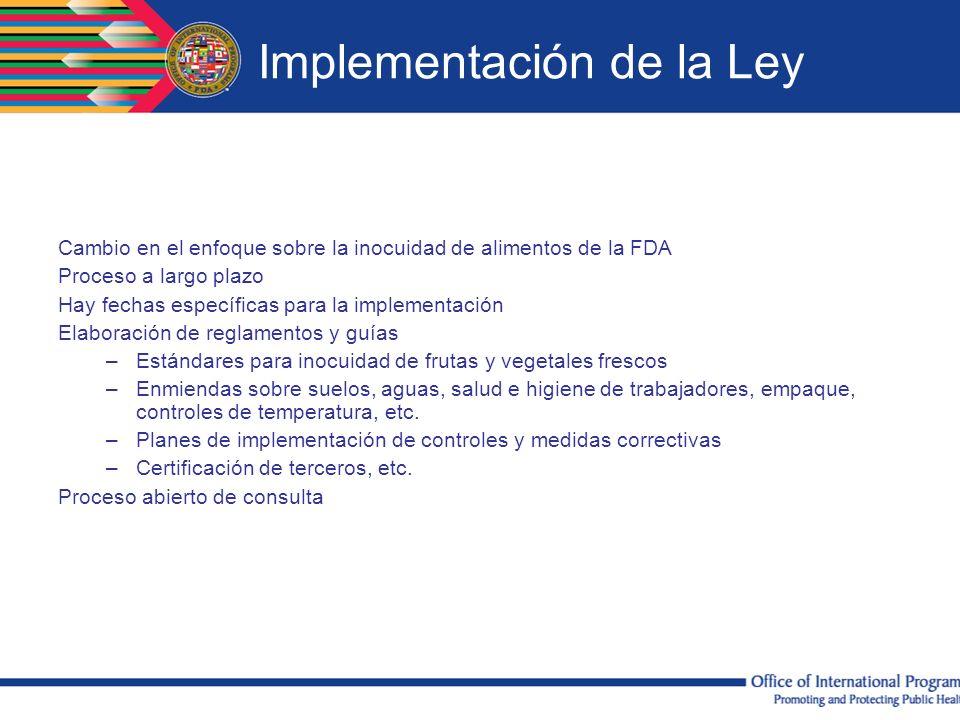 Implementación de la Ley