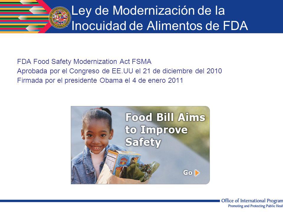 Ley de Modernización de la Inocuidad de Alimentos de FDA