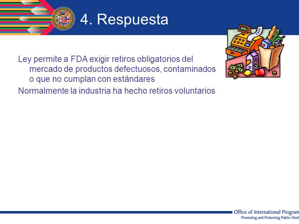 4. Respuesta Ley permite a FDA exigir retiros obligatorios del mercado de productos defectuosos, contaminados o que no cumplan con estándares.