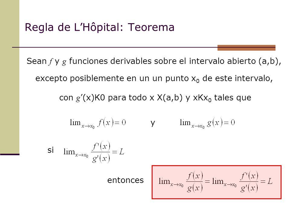 Regla de L'Hôpital: Teorema