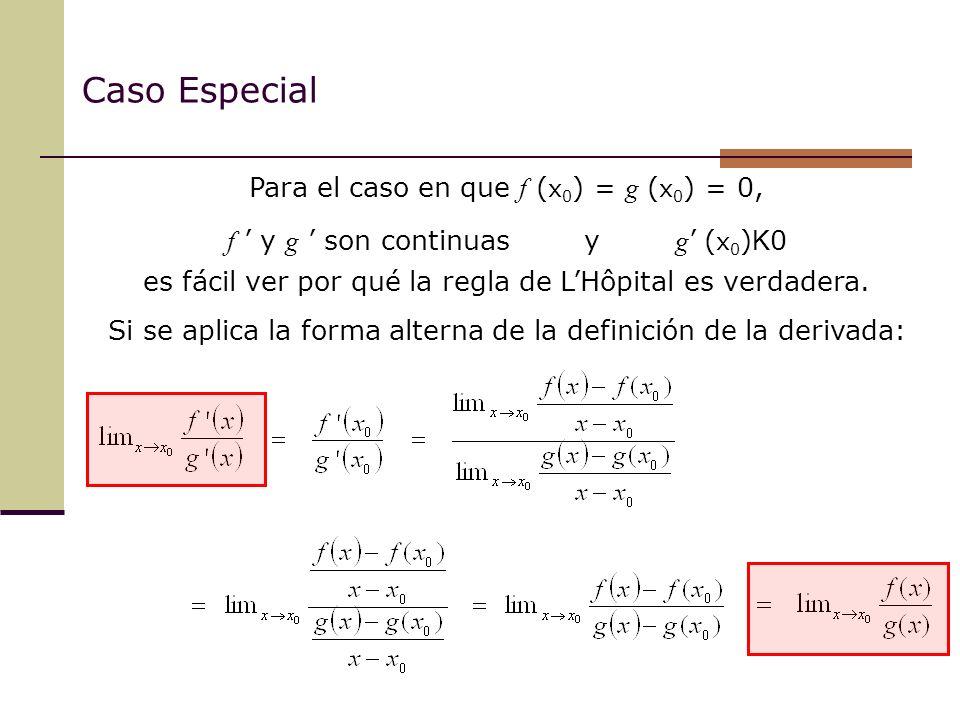 Caso Especial Para el caso en que f (x0) = g (x0) = 0,