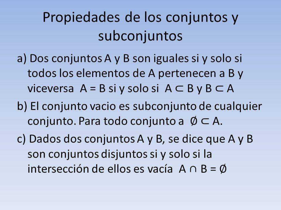 Propiedades de los conjuntos y subconjuntos