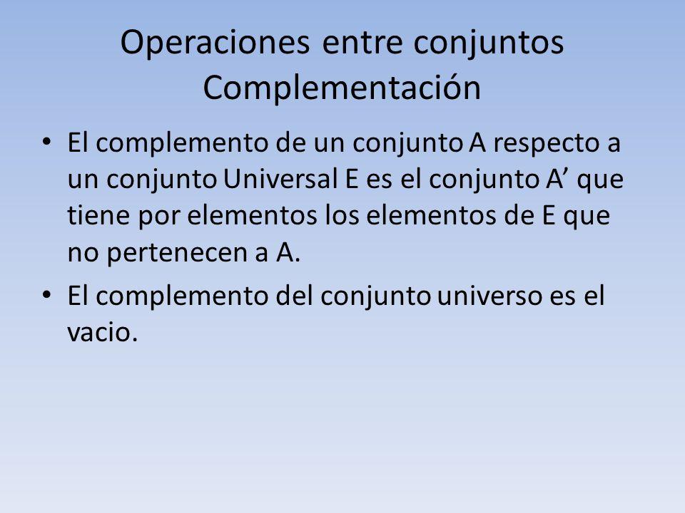Operaciones entre conjuntos Complementación
