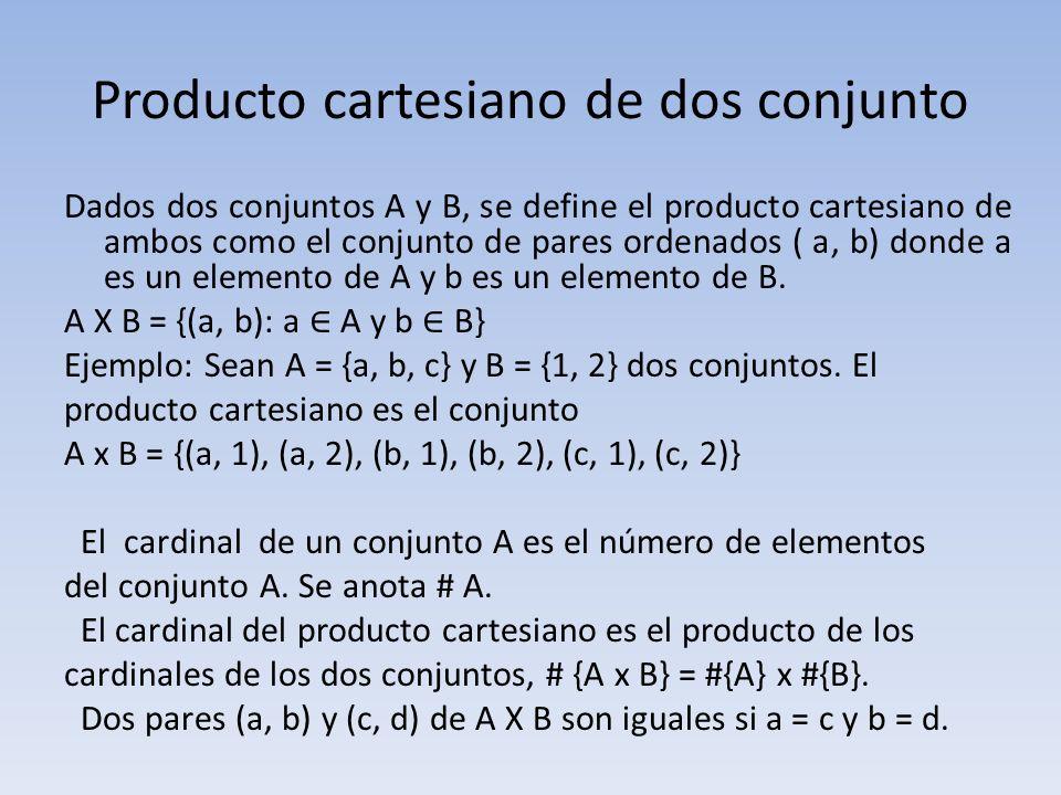 Producto cartesiano de dos conjunto