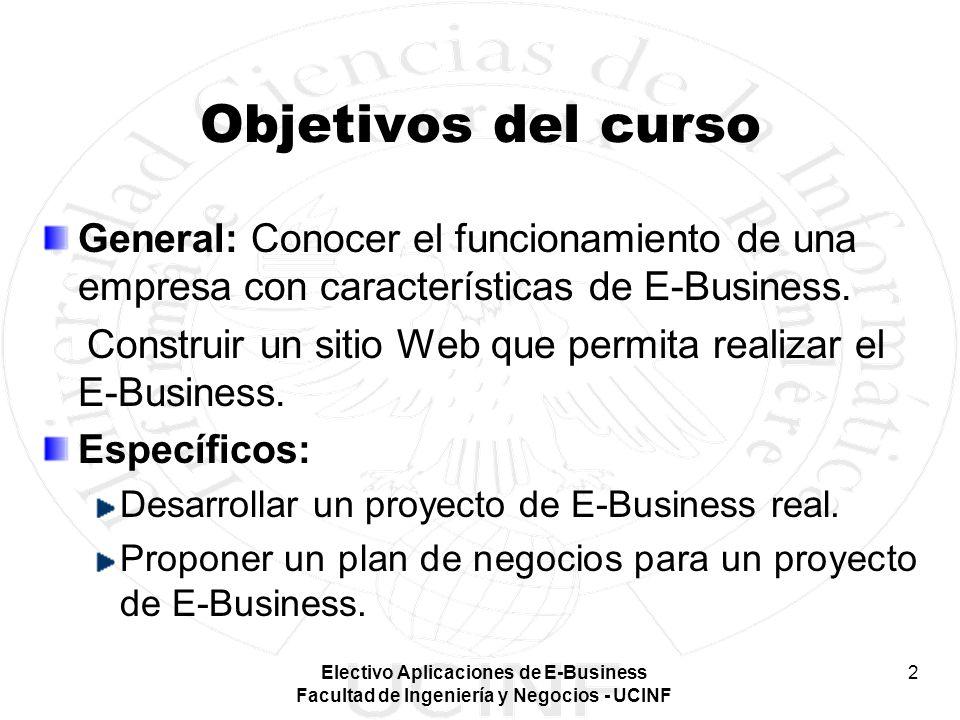 Objetivos del curso General: Conocer el funcionamiento de una empresa con características de E-Business.