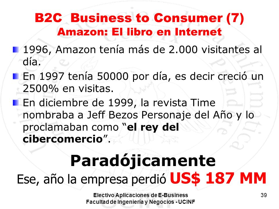 B2C Business to Consumer (7) Amazon: El libro en Internet
