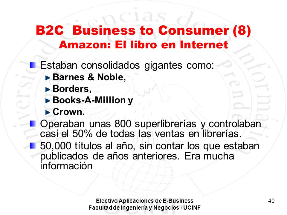 B2C Business to Consumer (8) Amazon: El libro en Internet