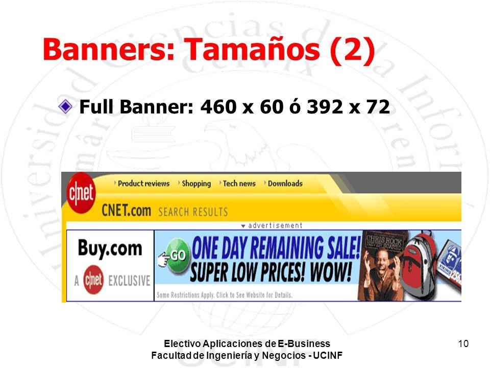 Banners: Tamaños (2) Full Banner: 460 x 60 ó 392 x 72