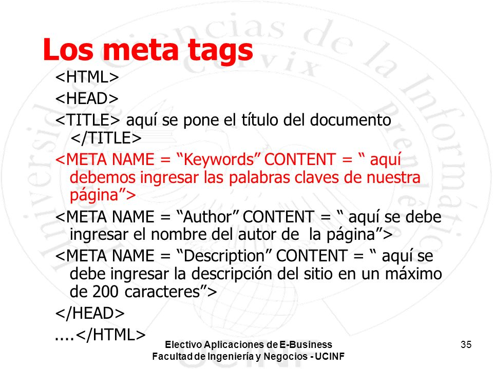 Los meta tags <HTML> <HEAD>