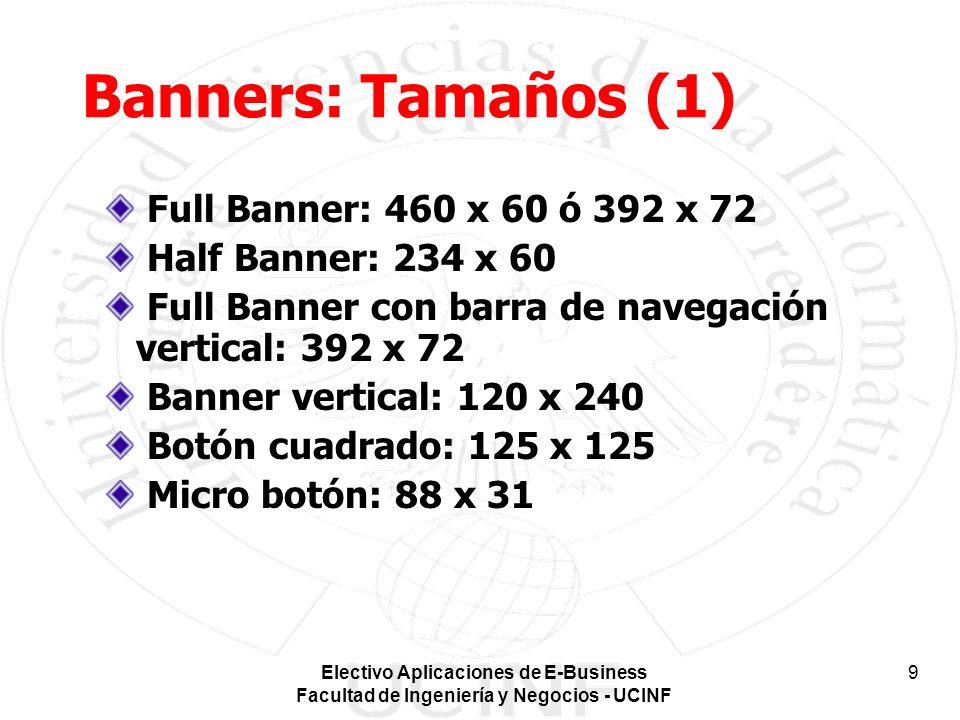 Banners: Tamaños (1) Full Banner: 460 x 60 ó 392 x 72