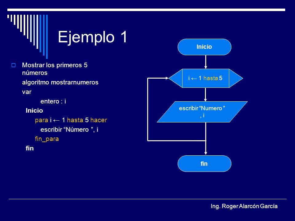 Ejemplo 1 Mostrar los primeros 5 números algoritmo mostrarnumeros var