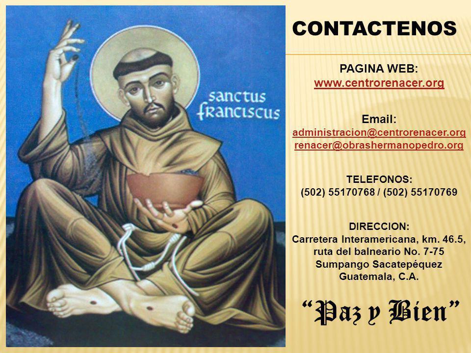 Paz y Bien CONTACTENOS PAGINA WEB: