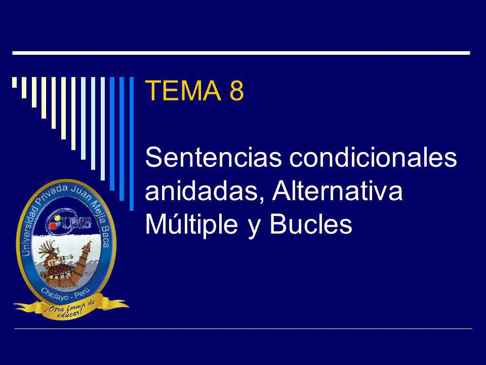 TEMA 8 Sentencias condicionales anidadas, Alternativa Múltiple y Bucles