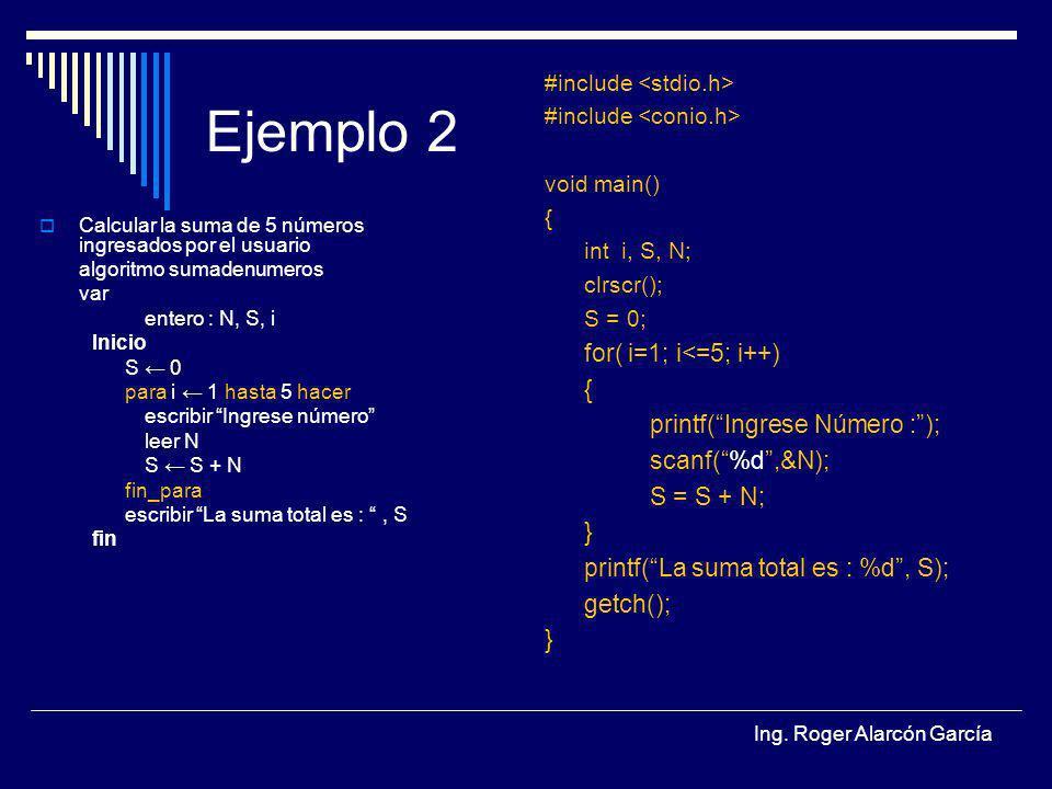 Ejemplo 2 for( i=1; i<=5; i++) printf( Ingrese Número : );