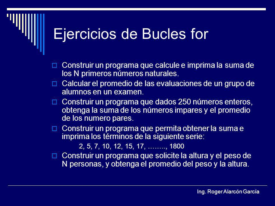 Ejercicios de Bucles for