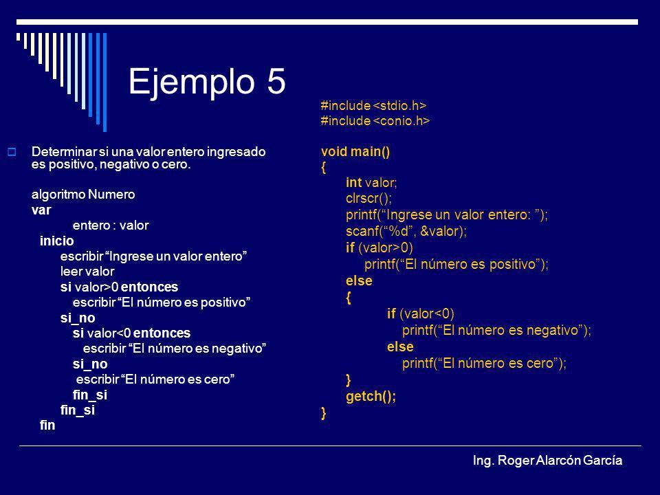 Ejemplo 5 clrscr(); printf( Ingrese un valor entero: );