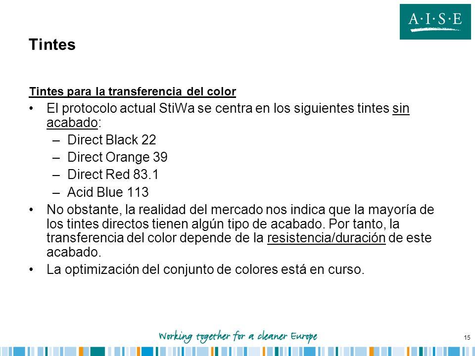Tintes Tintes para la transferencia del color. El protocolo actual StiWa se centra en los siguientes tintes sin acabado: