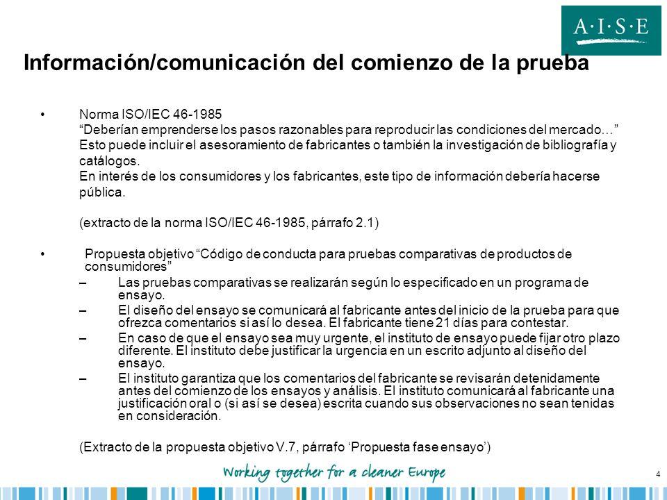 Información/comunicación del comienzo de la prueba