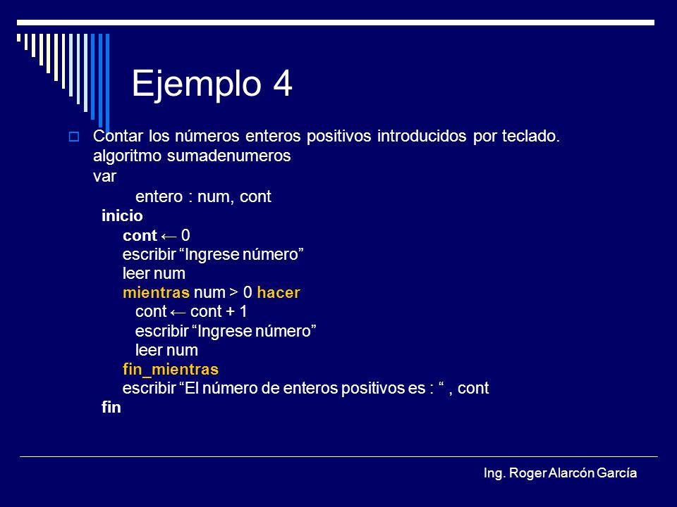 Ejemplo 4 Contar los números enteros positivos introducidos por teclado. algoritmo sumadenumeros. var.