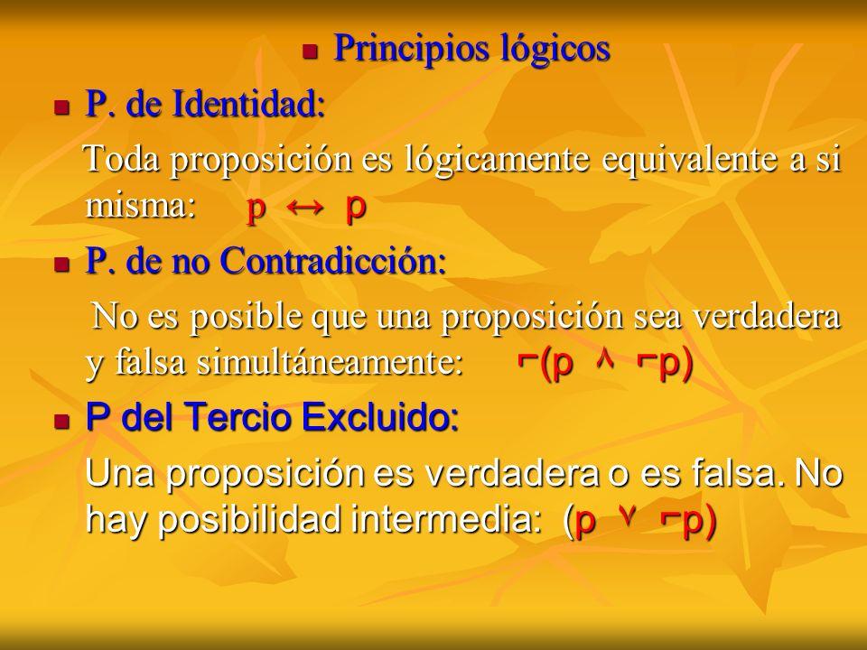 Principios lógicos P. de Identidad: Toda proposición es lógicamente equivalente a si misma: p ↔ p.