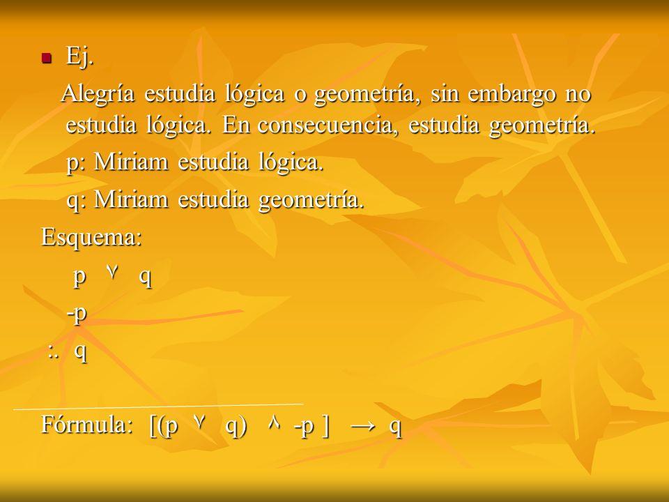 Ej. Alegría estudia lógica o geometría, sin embargo no estudia lógica. En consecuencia, estudia geometría.