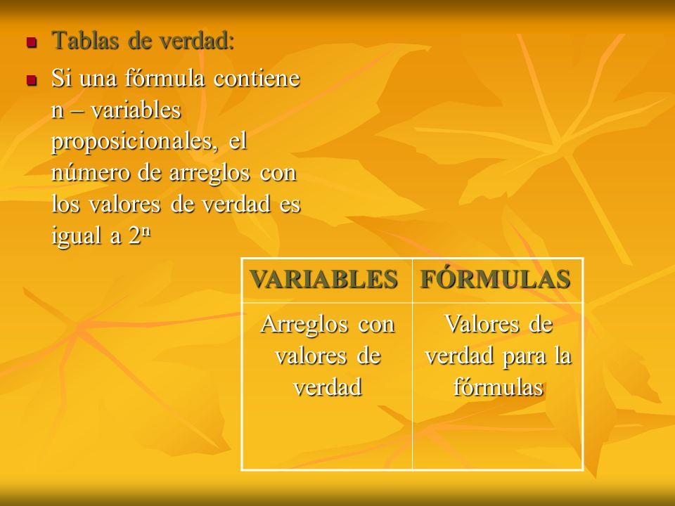 Arreglos con valores de verdad Valores de verdad para la fórmulas