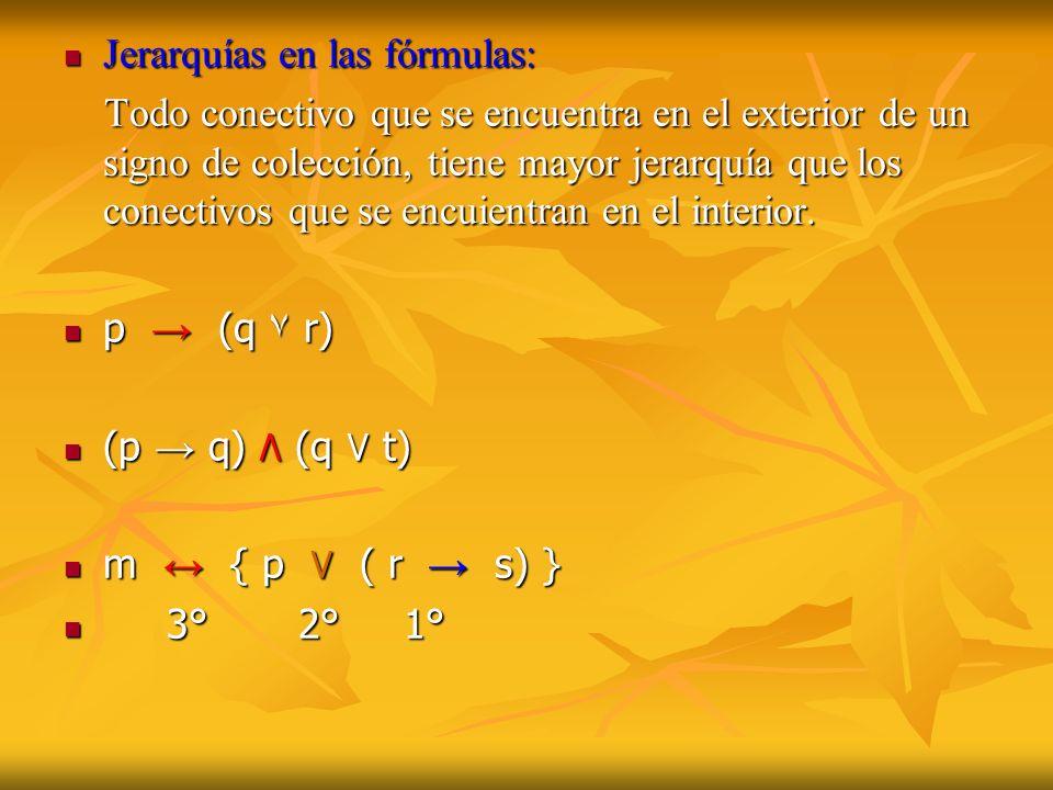 Jerarquías en las fórmulas: