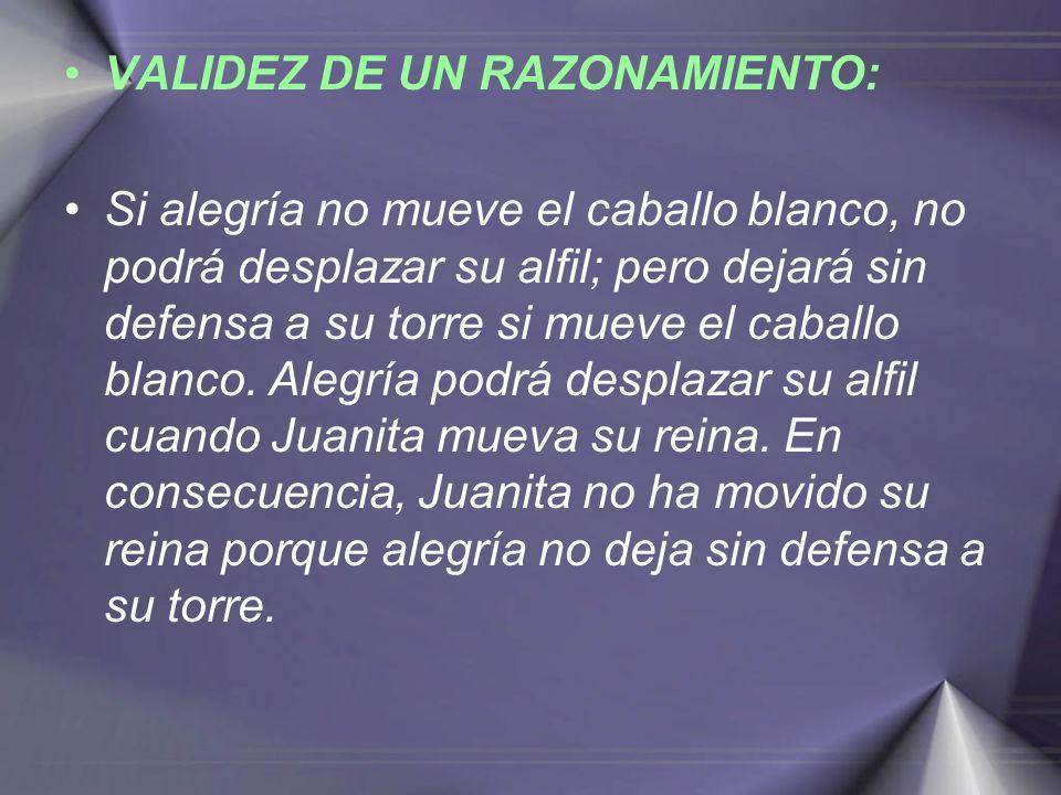 VALIDEZ DE UN RAZONAMIENTO: