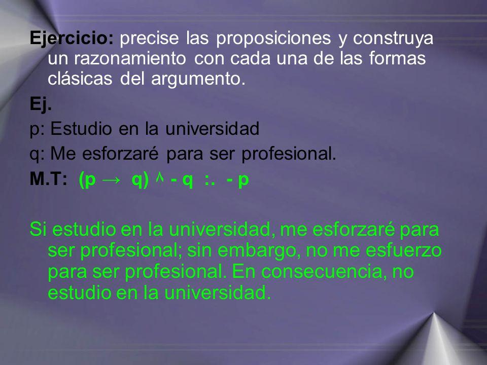 Ejercicio: precise las proposiciones y construya un razonamiento con cada una de las formas clásicas del argumento.