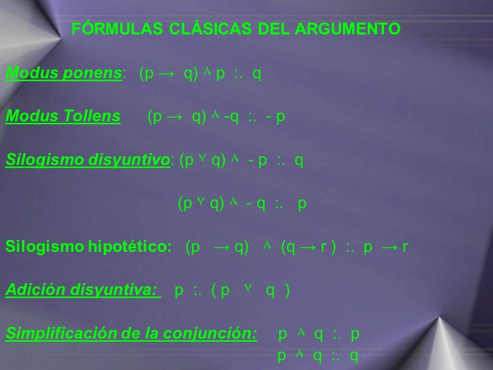 FÓRMULAS CLÁSICAS DEL ARGUMENTO