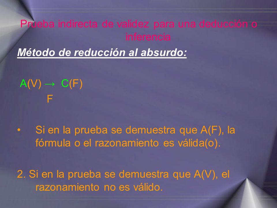 Prueba indirecta de validez para una deducción o inferencia