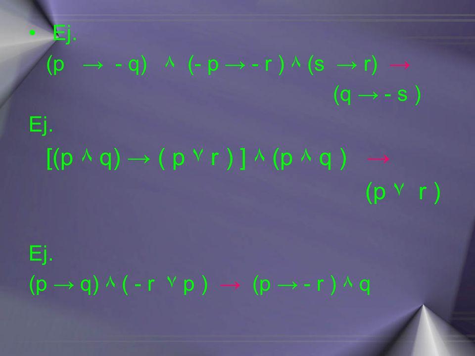 (p ۷ r ) Ej. (p → - q) ۸ (- p → - r ) ۸ (s → r) → (q → - s )