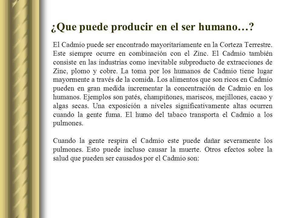 ¿Que puede producir en el ser humano…