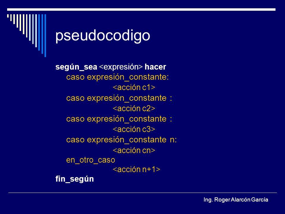 pseudocodigo caso expresión_constante: <acción c1>