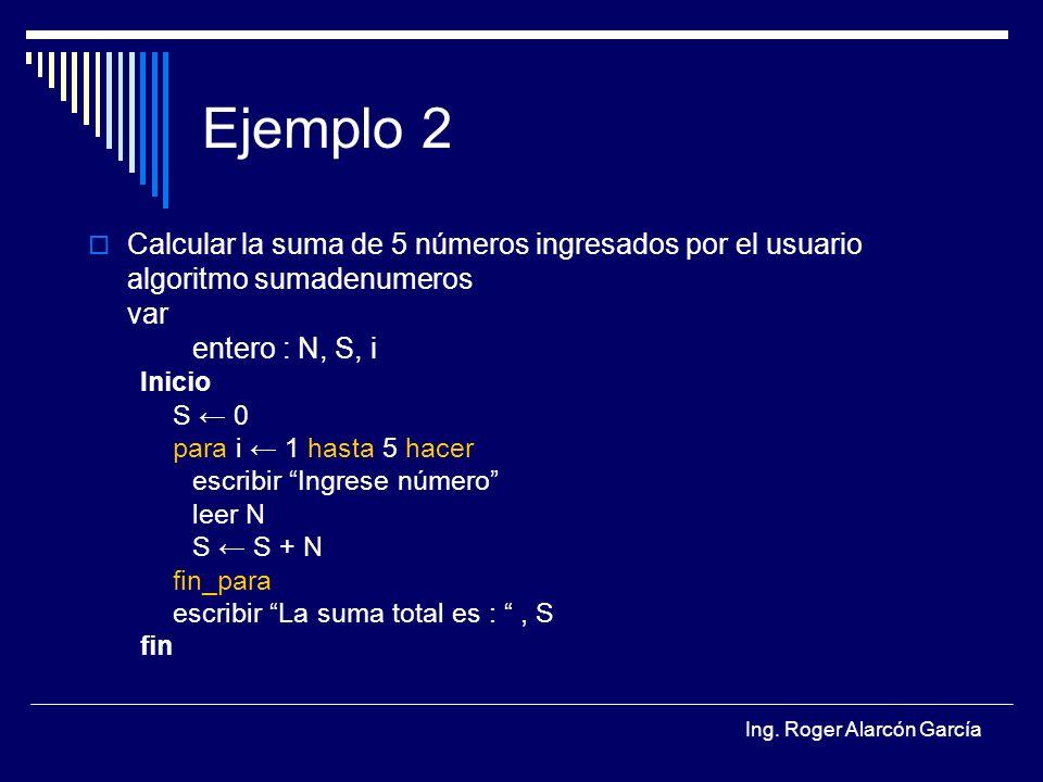 Ejemplo 2 Calcular la suma de 5 números ingresados por el usuario
