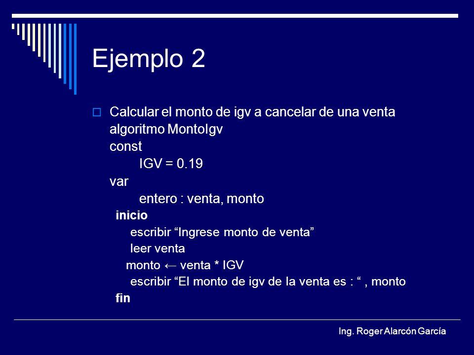 Ejemplo 2 Calcular el monto de igv a cancelar de una venta