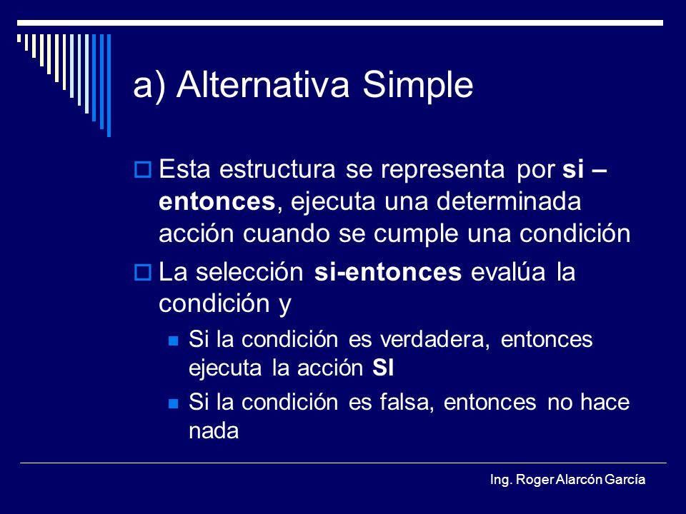 a) Alternativa Simple Esta estructura se representa por si – entonces, ejecuta una determinada acción cuando se cumple una condición.