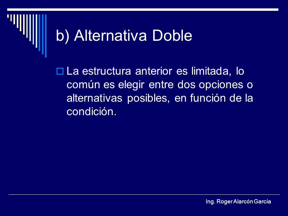 b) Alternativa Doble La estructura anterior es limitada, lo común es elegir entre dos opciones o alternativas posibles, en función de la condición.