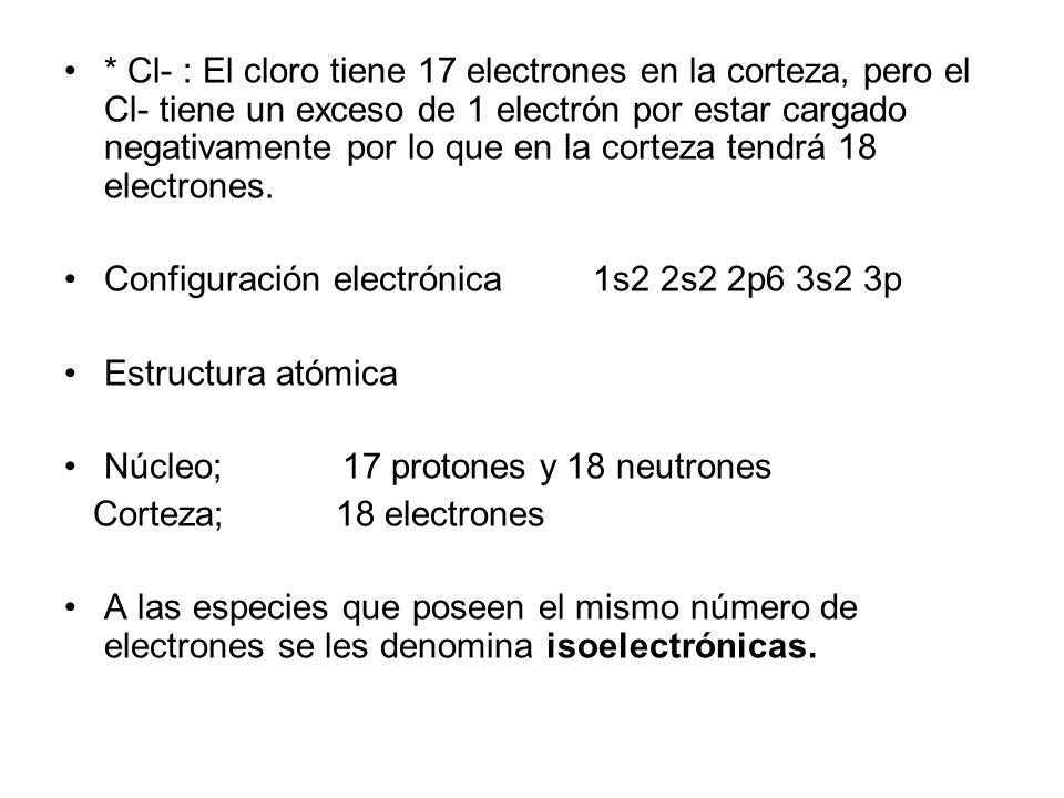 * Cl- : El cloro tiene 17 electrones en la corteza, pero el Cl- tiene un exceso de 1 electrón por estar cargado negativamente por lo que en la corteza tendrá 18 electrones.