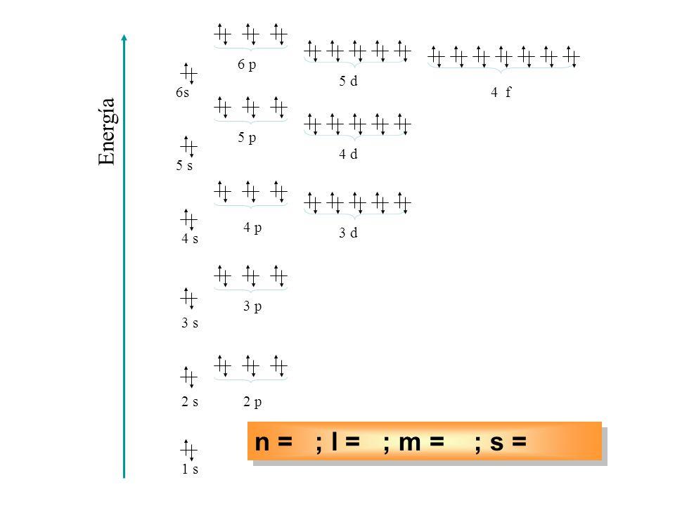 n = ; l = ; m = ; s = n = 4; l = 1; m = – 1; s = – ½