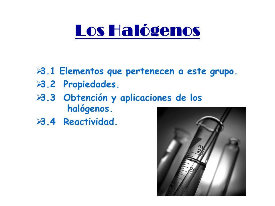 Los Halógenos 3.1 Elementos que pertenecen a este grupo.